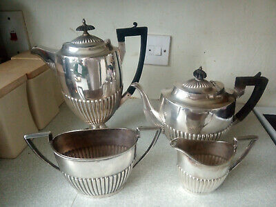 Large Vintage Silver Plated Tea And Coffee Pot 4 Pce Set - Walker & Hall
