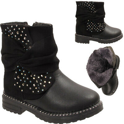Kids Fur Lined Studded Diamante Infant Girls Ruched Bow Winter Ankle Boots Shoes