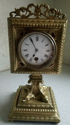 Lovely Antique French Brass Mantle Clock - Dolphin Style Base -Needs Restored