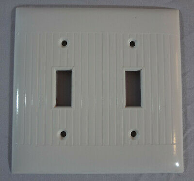 Vintage Sierra Double Gang 2-Switch Plate WHITE Bakelite Ribbed D-2 Made USA