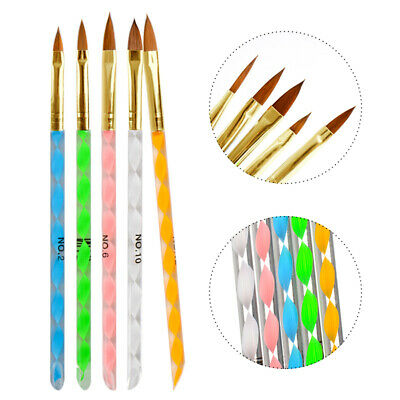 5pcs Acrylic Nail Art Brush Pen UV Gel Painting Drawing Liner Polish Brushes Set