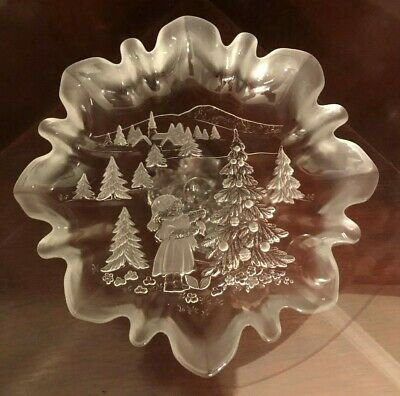 """X-Mas Mikasa Crystal Frosted & Cut Pedestal Candy Dish """"Christmas Story"""""""