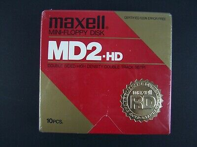 Maxell Mini-Floppy Disk 10 Pc MD2-HD Box New Sealed