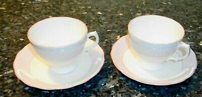 Vintage English Bone China Pink and White Cups and Saucers (2 Sets)