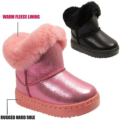 Kids Girls Infant Warm Winter Faux Fur Fleece Lined Glossy Ankle Snow Boots Size