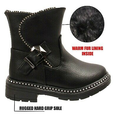 Girls Buckle Fashion Biker Fur Lined Zip Winter Ankle Stud Boots Grip Sole Size