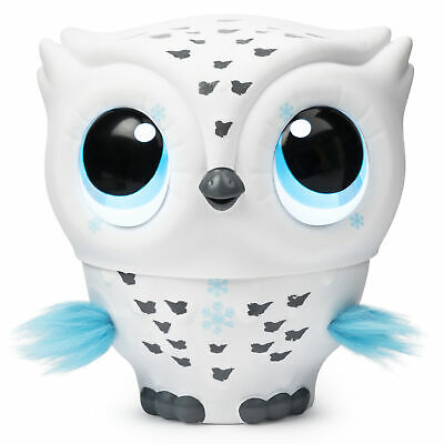 360° View  Owleez, Flying Baby Owl Interactive Toy with Lights and Sounds (White