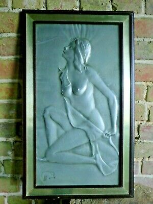 VINTAGE  ITALIAN  1960s / 1970s SIGNED ALUMINIUM NUDE GIRL LADY PICTURE