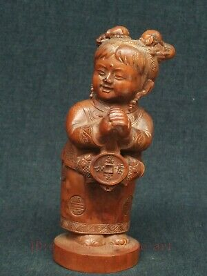 Superb Collect Ancient China Boxwood Hand Carved Auspiciou Lad Statue Decoration