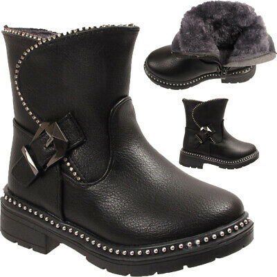 Kids Girls Diamante Studded Fashion Buckle Winter Fur Lined Ankle Boots Shoes UK