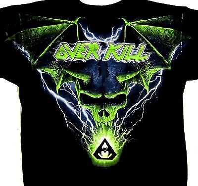 OVERKILL cd lgo BLUE BATWING SKULL ALL OVER Official 2013 TOUR SHIRT SML New OOP