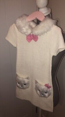 Designer Knitted Cream Girls Dress By Nula Bug Aged 2-3 Years Faux Fur