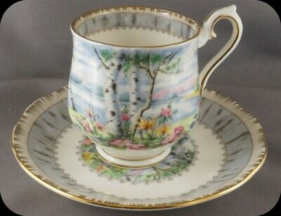 Royal Albert Silver Birch Demi Demitasse Cup & Saucer (2 Available)
