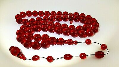 Antique Old Amber Bakelite Gebetskette Rosary Faturan Cherry Red 106 Grams