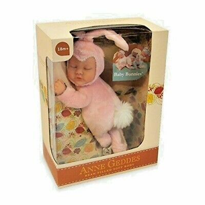 ANNE GEDDES Bean Filled Soft Baby Bunny Bunnies Doll Pink - New in Box