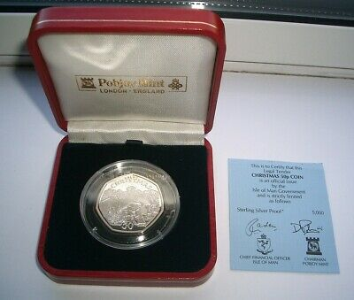 SILVER PROOF 1996 ISLE OF MAN CHRISTMAS 50p COIN IN CASE - UNC IoM MANX XMAS CoA