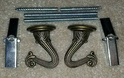 2 Antique Brass Finish Swag Lamp or Hanging Plant Ceiling Hook Parts KIT