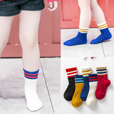 CO_ Fashion Unisex Kids Color Striped Cotton Breathable Middle Tube Socks 5 Pair