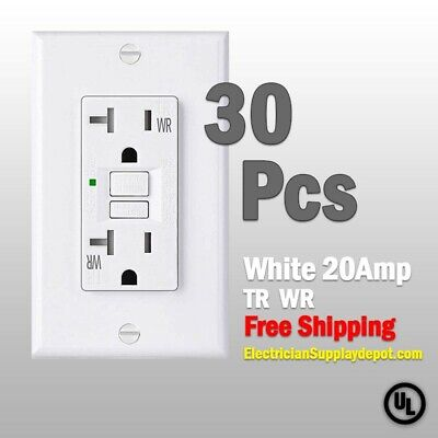 30 Pcs-20 AMP GFCI White Receptacle Outlet -TR & WR SELF TEST 2015 UL