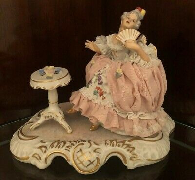 Vintage Sandizell Dresden Lace Porcelain Figurine Of A Seated Woman Holding Fan