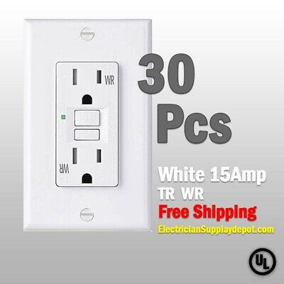 30 Pcs-15 AMP GFCI White Receptacle Outlet -TR & WR SELF TEST 2015 UL