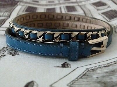 GIVENCHY turquoise blue leather skinny silver chain belt Size 75 / Size S - NEW