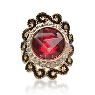 Vintage Oval Ruby Rings Antique Copper Crystal Jewelry Alloy Gold Plated TR0093