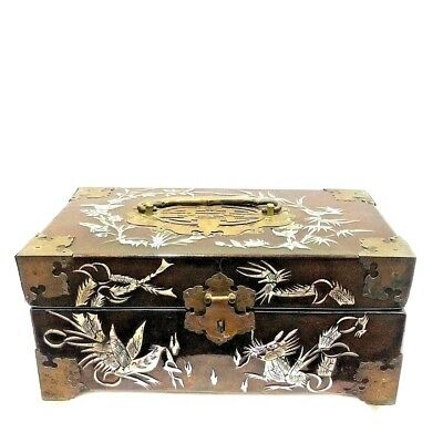China Vintage Wood Jewelry Box Case Mother Of Pearl Velvet Layered Mirror Flower