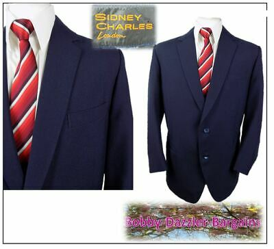 """Bespoke Sidney Charles of London 2 piece mens suit Ch46""""S W40"""" L27"""" Navy vintage"""