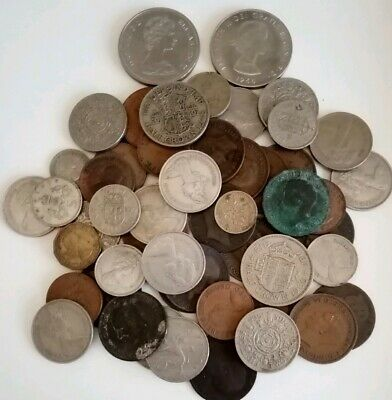 Job Lot Of Old British Coins. Pennies, Shillings, Half Crowns &10p coins.
