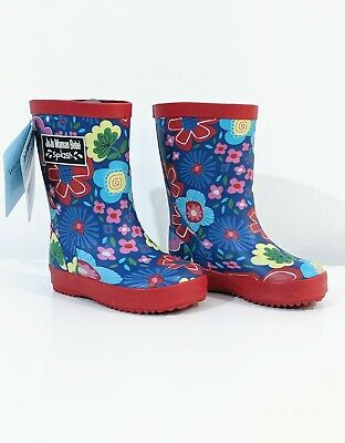 JoJo Maman Bebe wellies infant size 4 UK. Floral print with red trim. BNWT.