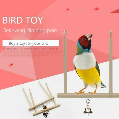 Birds Perch Parrot Play Toys Stand Holder Natural Wooden Hanging Cage Swing Bell