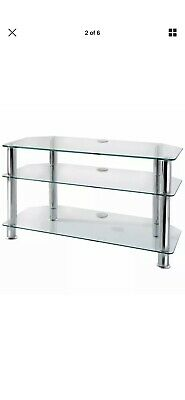 Blaupunkt 90 cm clear & black tempered 3 tier glass entertainment TV unit stand