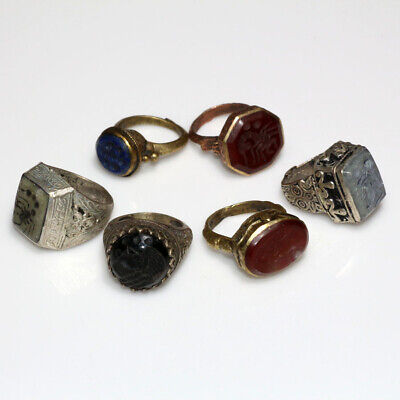 Lot Of 6 Near East Late Medieval Bronze & Silver Plated Seal Rings
