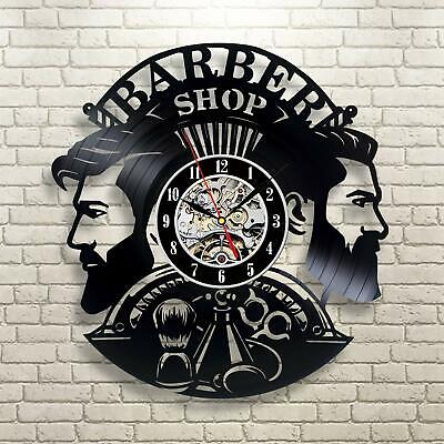 Barber Shop Vinyl Wall Clock Record Gift Decor Sing Feast Day Art Birthday