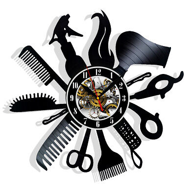 Hairdresser Barber Shop Salon Vinyl Wall Clock Record Gift Decor Sing Feast Day