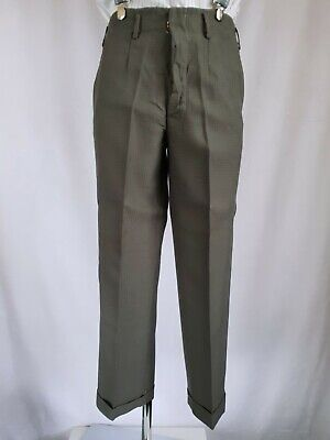 Vtg 40s/50s Pleated Cuffed Button Fly Wool Trousers Hollywood Waist W30 KM34