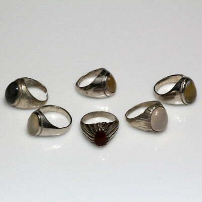 Lot Of 6 Post Medieval Billon Silver Plated Greek Rings With Stones