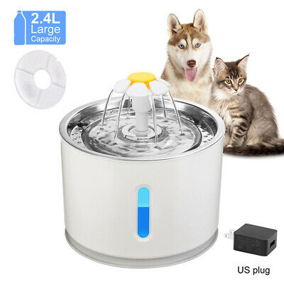 Auto-USB LED Dog Cat Pet Stainless Steel Water Drinking Fountain Feeder 2.4 L