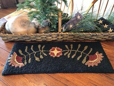 Primitive Hooked Rug Pattern On Monks ~ Cupboard Flowers