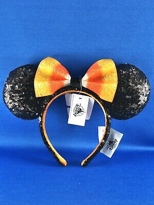 Disney Parks Halloween Candy Corn Bow Minnie Mouse Ears Headband 2019 NWT