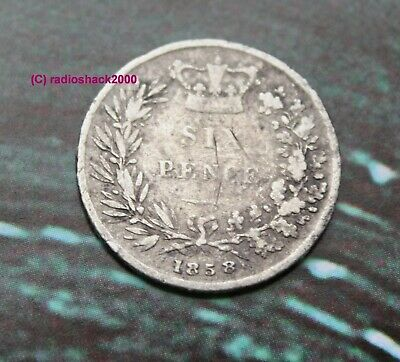 1858 Queen Victoria Silver Sixpence 6d British English 92.5% Sterling silver