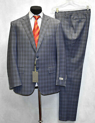 B00 NWT CANALI Natural Comfort Grey Plaid Wool Blazer Pants Suit Size 54 R $1995
