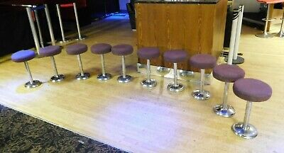10 x Fixed Seating Bar Stools Purple & Chrome Low Height Industrial 9kg Club