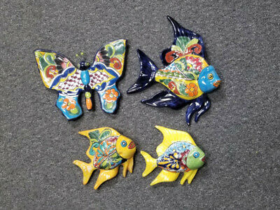 Set of 4 Ceramic Fish and Butterfly Set, Multi-Color