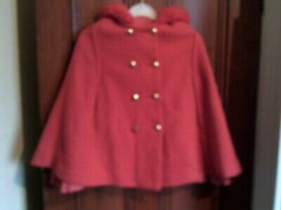 Vintage Red Woolen Cape with Hood - Girls 6-8 Years - Wool 1960s Lined