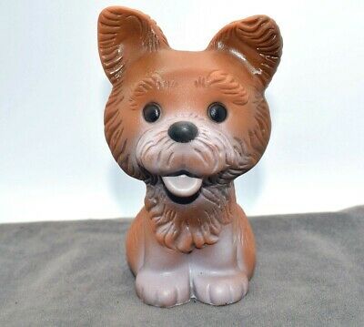 VINTAGE SOVIET RUBBER TOY CUTE PUPPY DOG PLAYING ACCORDION