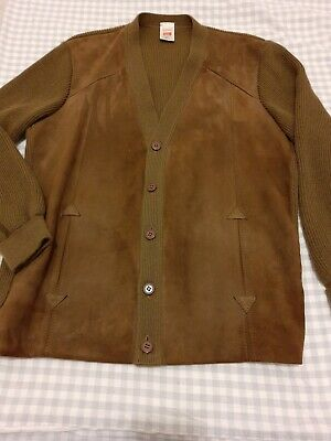 """VINTAGE ST MICHAEL real soft suede front cardigan 80s 90s brown 42"""" hipster"""