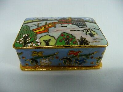 Antique Chinese Asian Oriental Enamel Cloisonne Snuff Box Case Pill Box