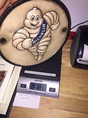 Michelin Tire Man Solid Metal Cast Iron Patina Plaque Sign 9 Inches Coal Gas Oil